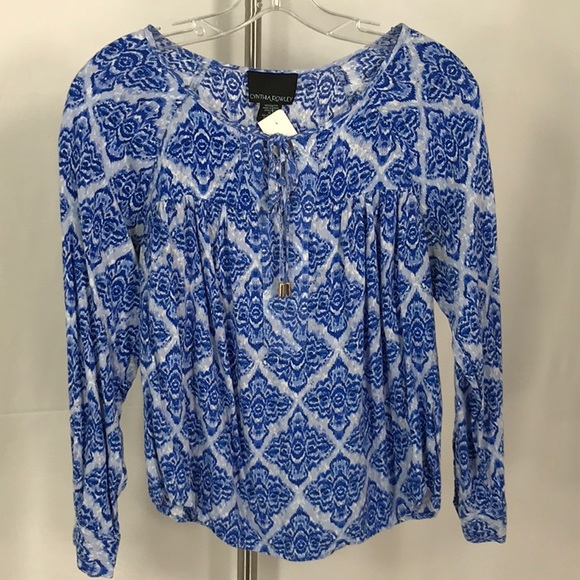 Tops - Cynthia Rowley blue and white long sleeve blouse s